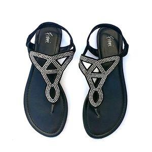 Fioni Black Sandals, Studded Rhinestones, size 9